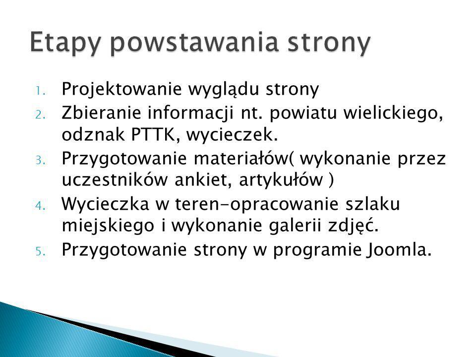1. Projektowanie wyglądu strony 2. Zbieranie informacji nt. powiatu wielickiego, odznak PTTK, wycieczek. 3. Przygotowanie materiałów( wykonanie przez