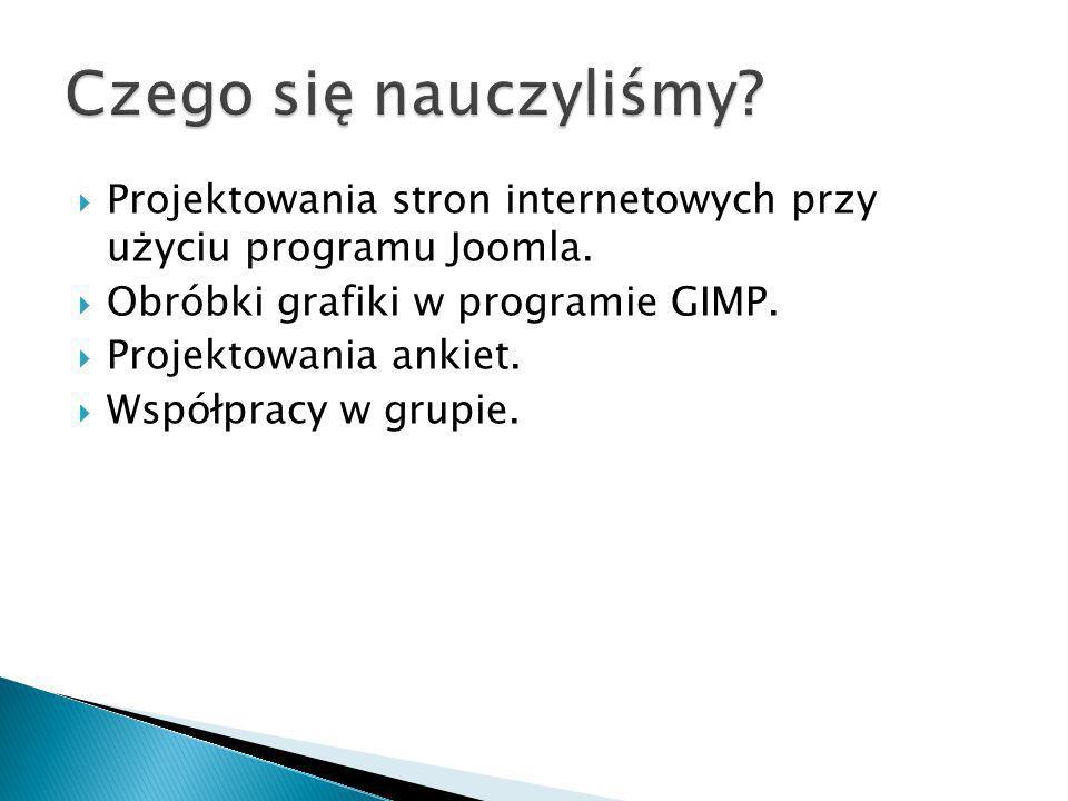 Projektowania stron internetowych przy użyciu programu Joomla. Obróbki grafiki w programie GIMP. Projektowania ankiet. Współpracy w grupie.