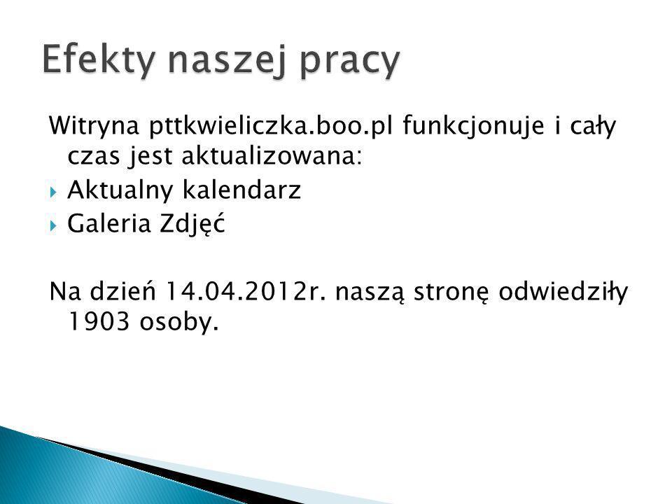 Witryna pttkwieliczka.boo.pl funkcjonuje i cały czas jest aktualizowana: Aktualny kalendarz Galeria Zdjęć Na dzień 14.04.2012r. naszą stronę odwiedził