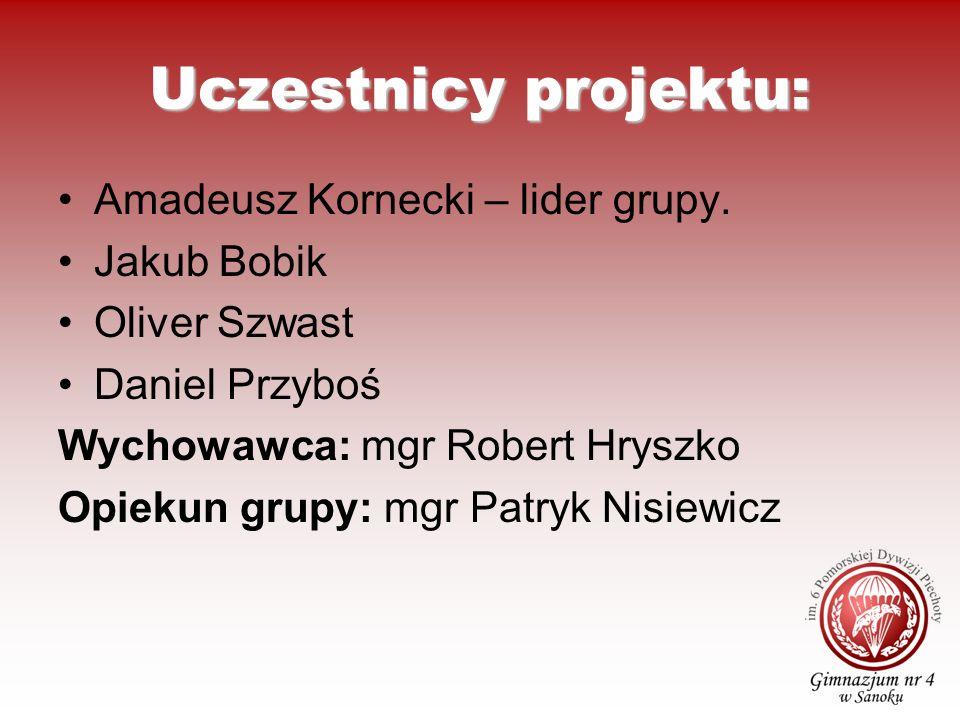 Uczestnicy projektu: Amadeusz Kornecki – lider grupy. Jakub Bobik Oliver Szwast Daniel Przyboś Wychowawca: mgr Robert Hryszko Opiekun grupy: mgr Patry