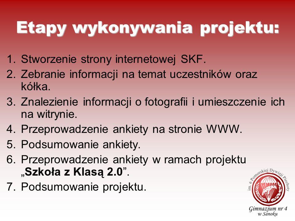 Etapy wykonywania projektu: 1.Stworzenie strony internetowej SKF. 2.Zebranie informacji na temat uczestników oraz kółka. 3.Znalezienie informacji o fo