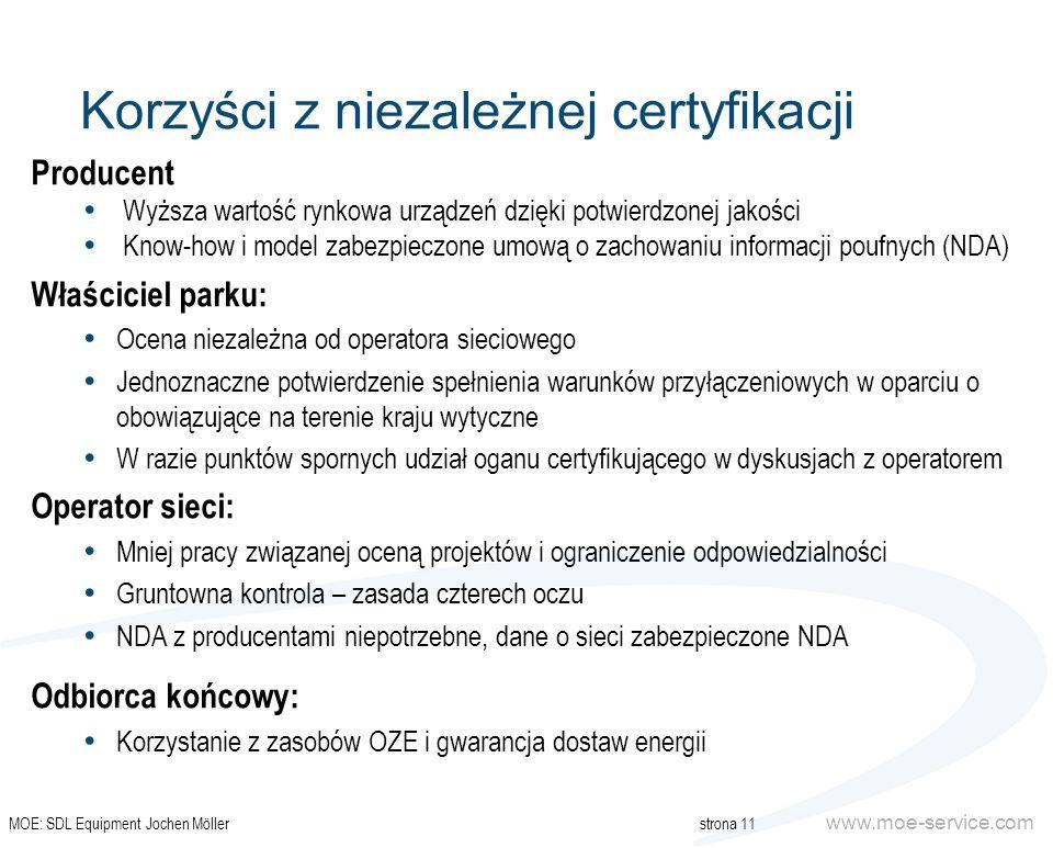 www.moe-service.com Korzyści z niezależnej certyfikacji Producent Wyższa wartość rynkowa urządzeń dzięki potwierdzonej jakości Know-how i model zabezp