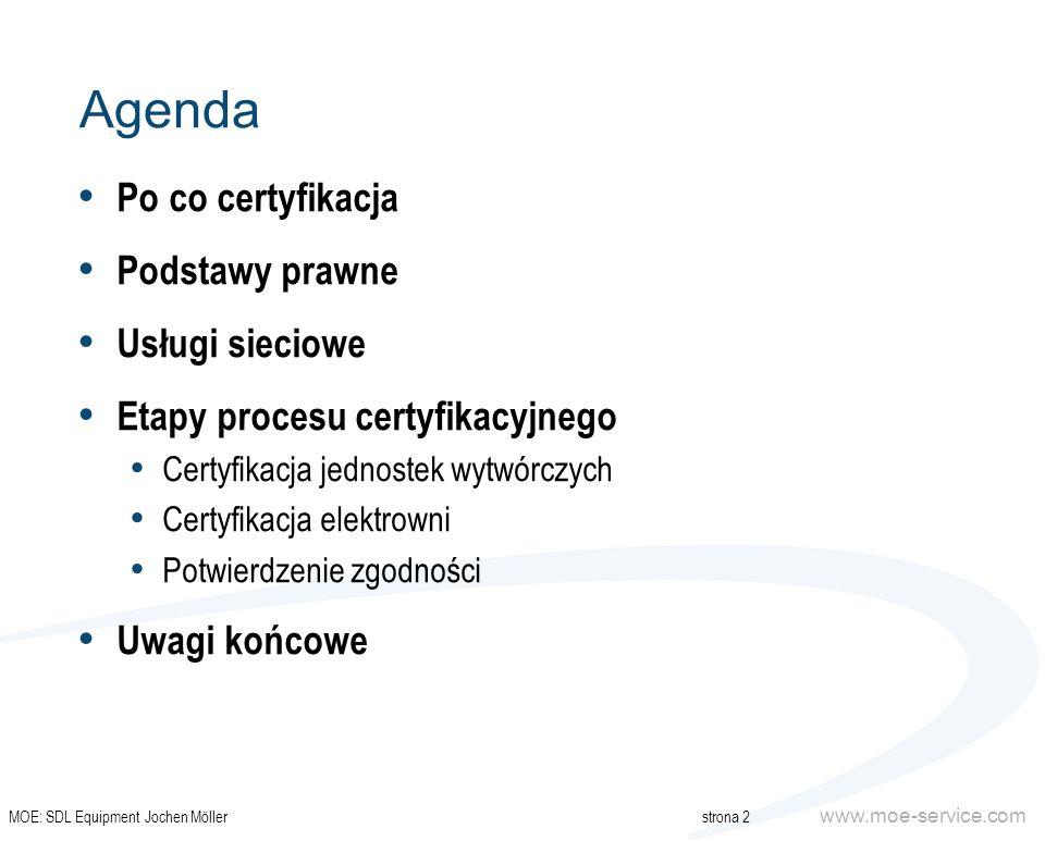 www.moe-service.com Agenda Po co certyfikacja Podstawy prawne Usługi sieciowe Etapy procesu certyfikacyjnego Certyfikacja jednostek wytwórczych Certyf