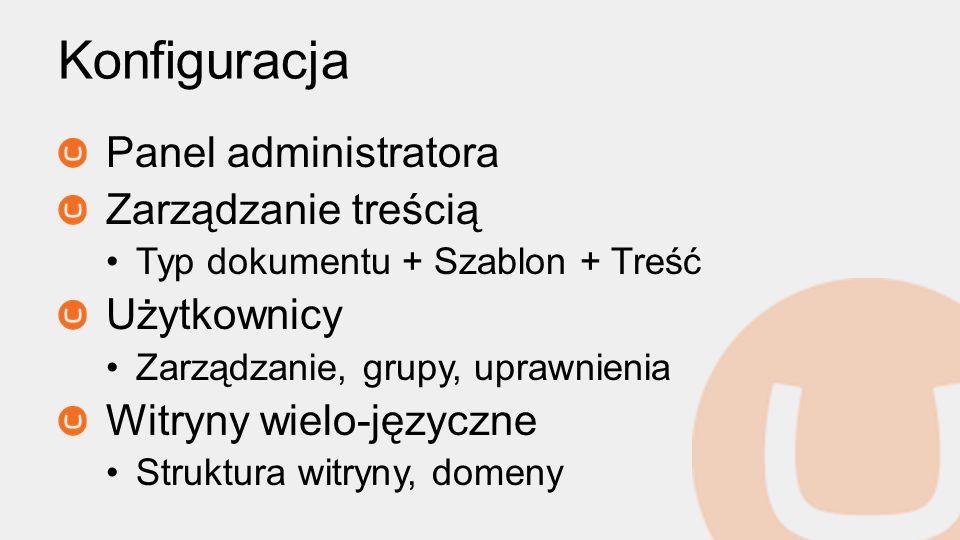 Panel administratora Zarządzanie treścią Typ dokumentu + Szablon + Treść Użytkownicy Zarządzanie, grupy, uprawnienia Witryny wielo-języczne Struktura witryny, domeny