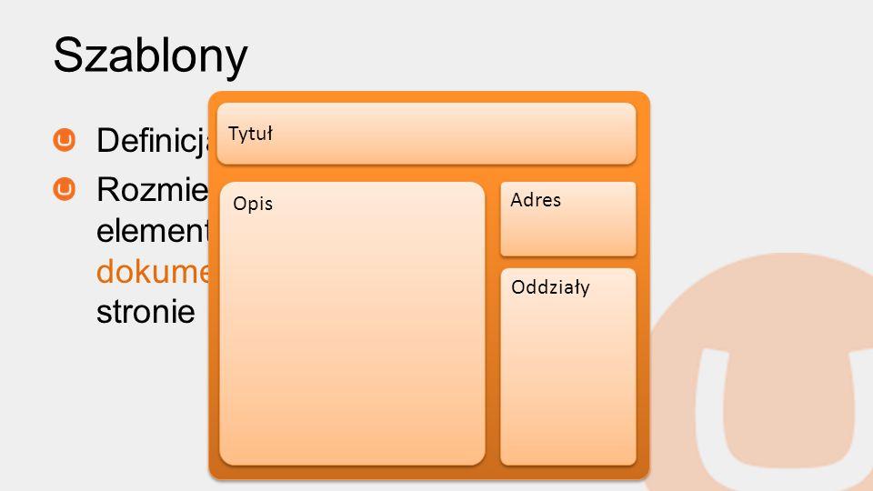 Szablony Definicja układu Rozmieszczenie elementów typu dokumentu na stronie Tytuł Opis Adres Oddziały