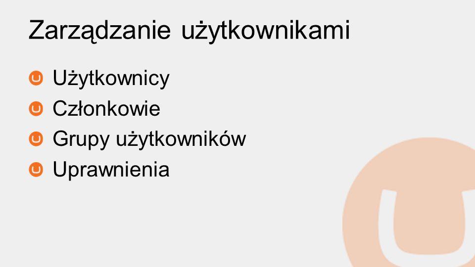 Zarządzanie użytkownikami Użytkownicy Członkowie Grupy użytkowników Uprawnienia