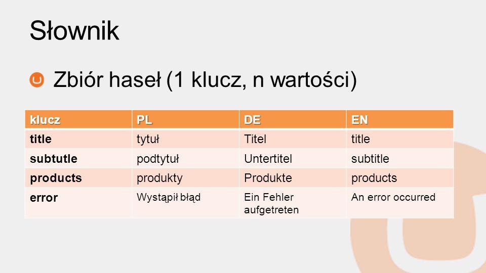 Słownik Zbiór haseł (1 klucz, n wartości) kluczPLDEEN titletytułTiteltitle subtutlepodtytułUntertitelsubtitle productsproduktyProdukteproducts error W