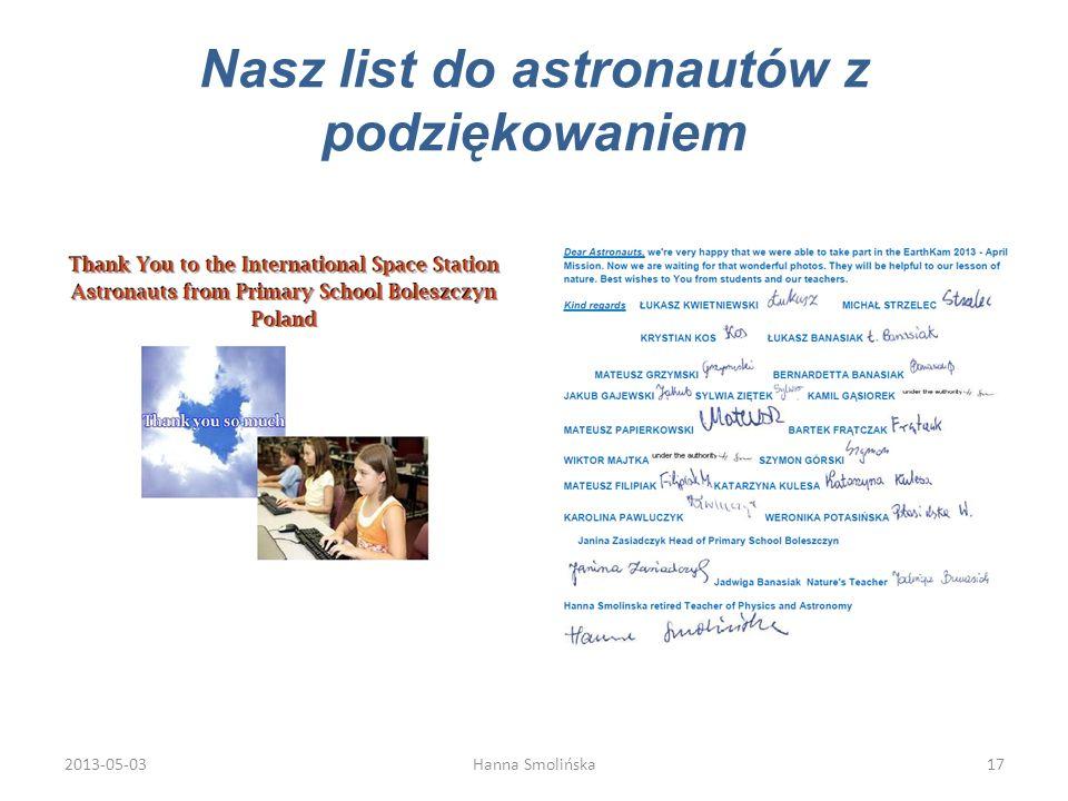 Nasz list do astronautów z podziękowaniem 2013-05-0317Hanna Smolińska