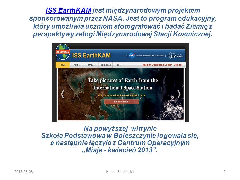 Na powyższej witrynie Szkoła Podstawowa w Boleszczynie logowała się, a następnie łączyła z Centrum Operacyjnym Misja - kwiecień 2013. ISS EarthKAMISS