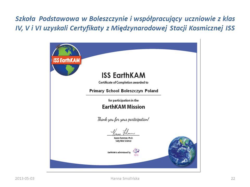 Szkoła Podstawowa w Boleszczynie i współpracujący uczniowie z klas IV, V i VI uzyskali Certyfikaty z Międzynarodowej Stacji Kosmicznej ISS 2013-05-032