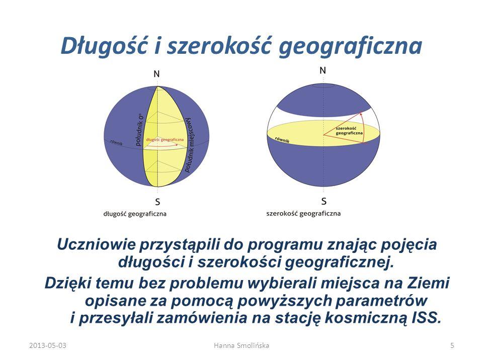 Długość i szerokość geograficzna Uczniowie przystąpili do programu znając pojęcia długości i szerokości geograficznej. Dzięki temu bez problemu wybier