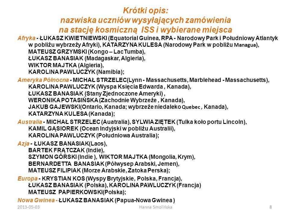 Krótki opis: nazwiska uczniów wysyłających zamówienia na stację kosmiczną ISS i wybierane miejsca Afryka - ŁUKASZ KWIETNIEWSKI (Equatorial Guinea, RPA