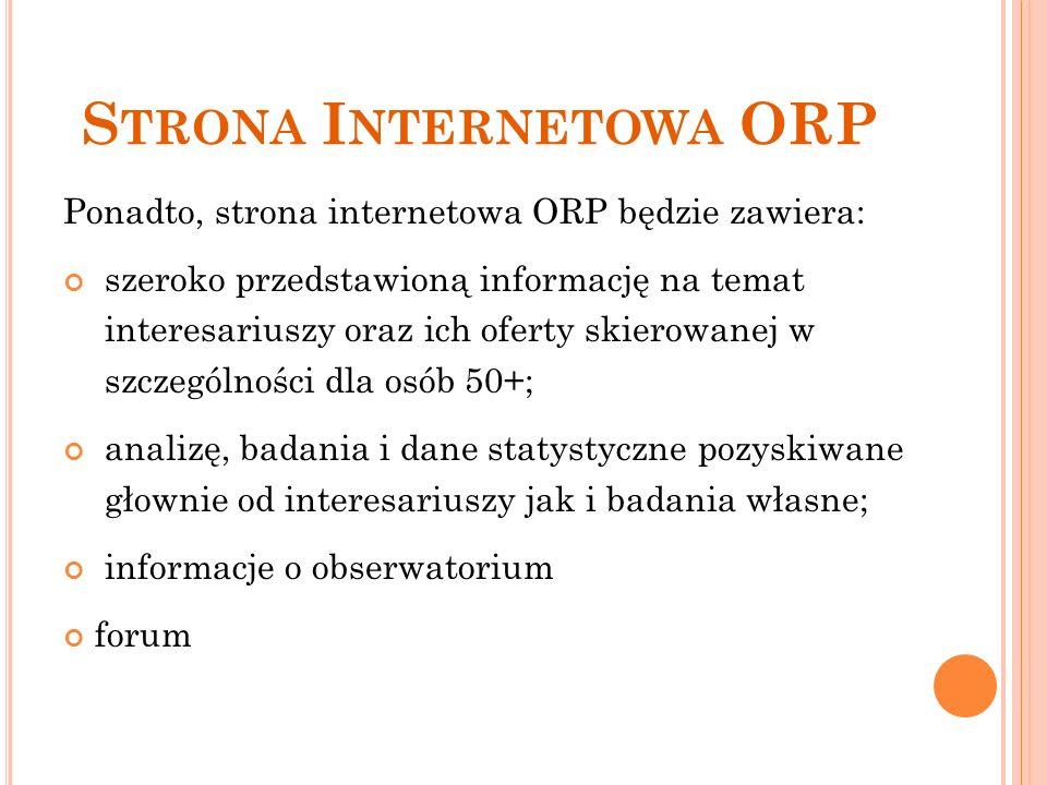 S TRONA I NTERNETOWA ORP Ponadto, strona internetowa ORP będzie zawiera: szeroko przedstawioną informację na temat interesariuszy oraz ich oferty skierowanej w szczególności dla osób 50+; analizę, badania i dane statystyczne pozyskiwane głownie od interesariuszy jak i badania własne; informacje o obserwatorium forum