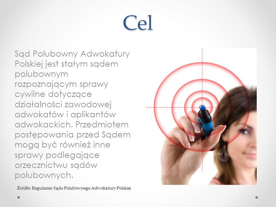 Cel Sąd Polubowny Adwokatury Polskiej jest stałym sądem polubownym rozpoznającym sprawy cywilne dotyczące działalności zawodowej adwokatów i aplikantó