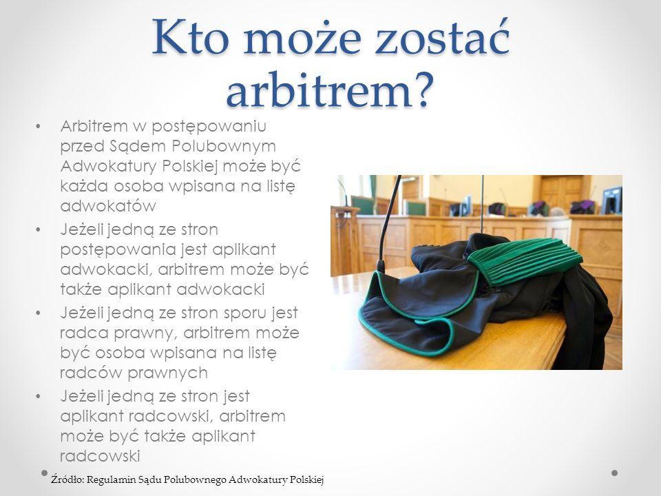 Kto może zostać arbitrem? Arbitrem w postępowaniu przed Sądem Polubownym Adwokatury Polskiej może być każda osoba wpisana na listę adwokatów Jeżeli je
