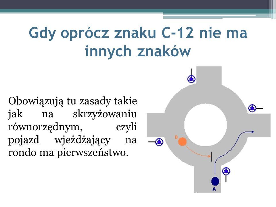 Gdy oprócz znaku C-12 nie ma innych znaków Obowiązują tu zasady takie jak na skrzyżowaniu równorzędnym, czyli pojazd wjeżdżający na rondo ma pierwszeń