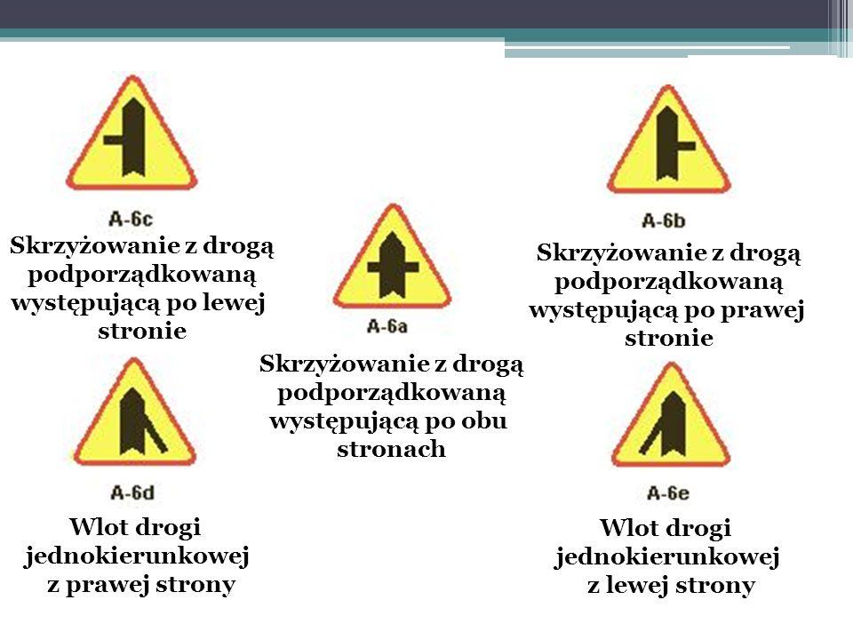 Skrzyżowanie z drogą podporządkowaną występującą po obu stronach Skrzyżowanie z drogą podporządkowaną występującą po lewej stronie Skrzyżowanie z drog