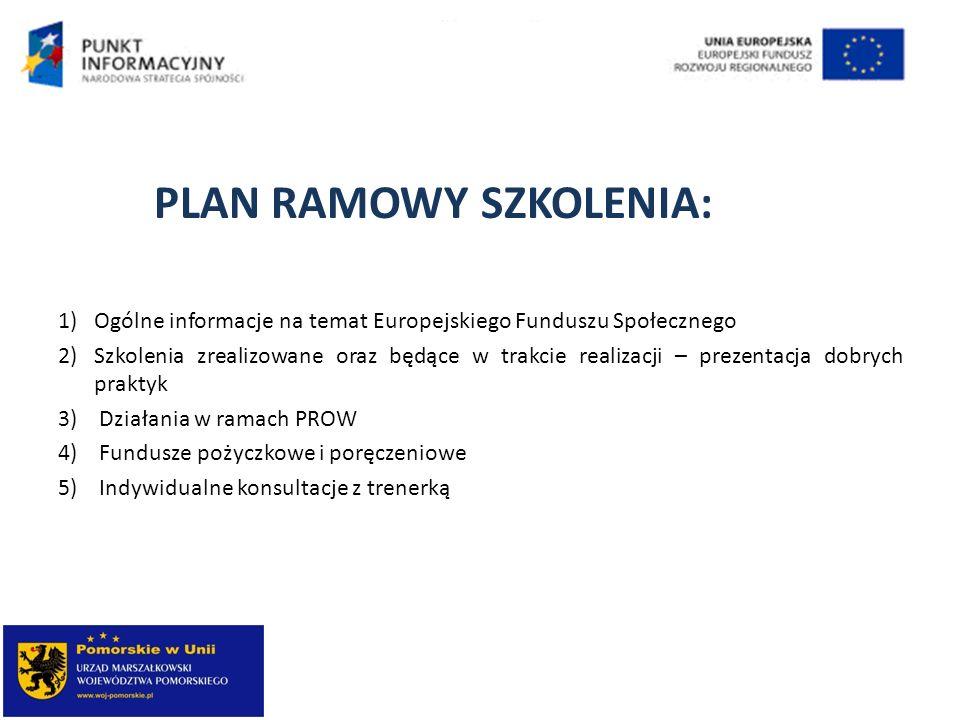 PLAN RAMOWY SZKOLENIA: 1)Ogólne informacje na temat Europejskiego Funduszu Społecznego 2)Szkolenia zrealizowane oraz będące w trakcie realizacji – pre