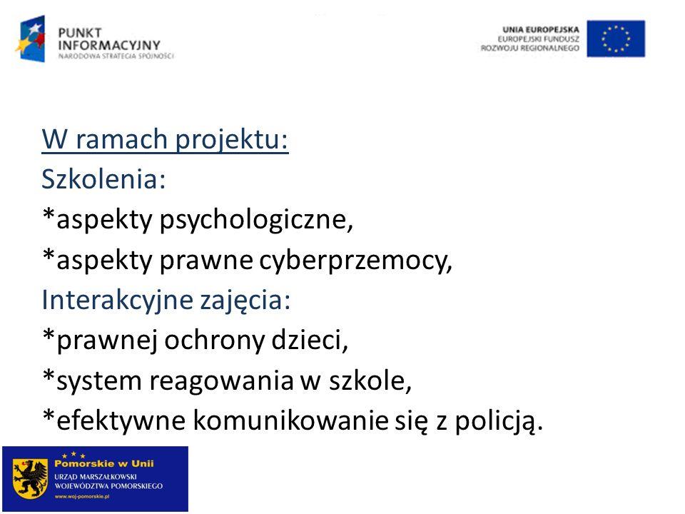 W ramach projektu: Szkolenia: *aspekty psychologiczne, *aspekty prawne cyberprzemocy, Interakcyjne zajęcia: *prawnej ochrony dzieci, *system reagowani