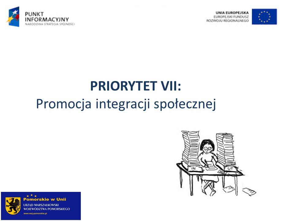 PRIORYTET VII: Promocja integracji społecznej
