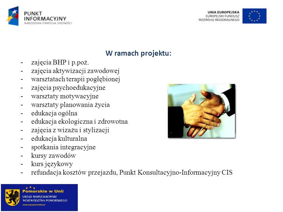 W ramach projektu: -zajęcia BHP i p.poż. -zajęcia aktywizacji zawodowej -warsztatach terapii pogłębionej -zajęcia psychoedukacyjne -warsztaty motywacy