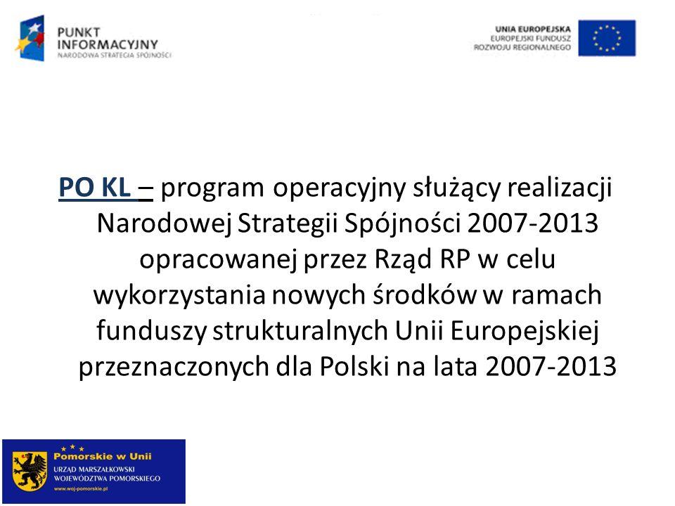 PO KL – program operacyjny służący realizacji Narodowej Strategii Spójności 2007-2013 opracowanej przez Rząd RP w celu wykorzystania nowych środków w