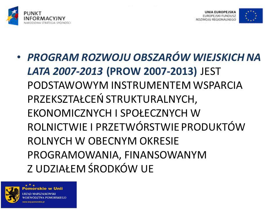 PROGRAM ROZWOJU OBSZARÓW WIEJSKICH NA LATA 2007-2013 (PROW 2007-2013) JEST PODSTAWOWYM INSTRUMENTEM WSPARCIA PRZEKSZTAŁCEŃ STRUKTURALNYCH, EKONOMICZNY