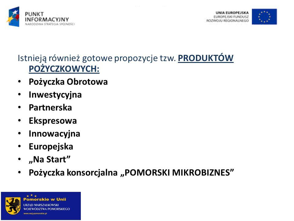 Istnieją również gotowe propozycje tzw. PRODUKTÓW POŻYCZKOWYCH: Pożyczka Obrotowa Inwestycyjna Partnerska Ekspresowa Innowacyjna Europejska Na Start P