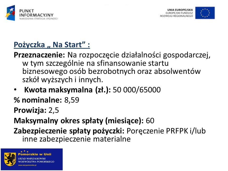 Pożyczka Na Start : Przeznaczenie: Na rozpoczęcie działalności gospodarczej, w tym szczególnie na sfinansowanie startu biznesowego osób bezrobotnych o