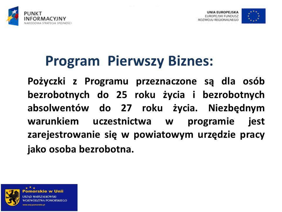 Program Pierwszy Biznes: Pożyczki z Programu przeznaczone są dla osób bezrobotnych do 25 roku życia i bezrobotnych absolwentów do 27 roku życia. Niezb