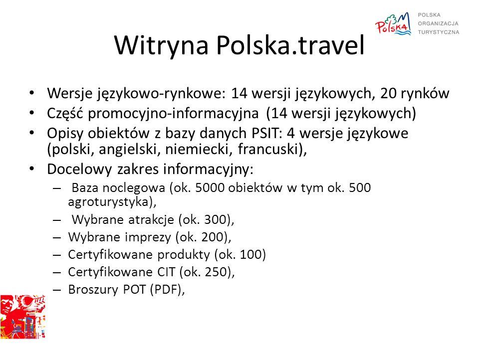 Wersje językowo-rynkowe: 14 wersji językowych, 20 rynków Część promocyjno-informacyjna (14 wersji językowych) Opisy obiektów z bazy danych PSIT: 4 wer