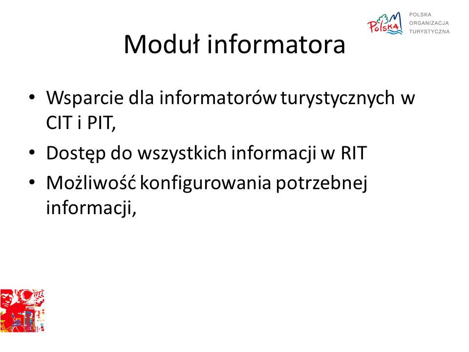 Moduł informatora Wsparcie dla informatorów turystycznych w CIT i PIT, Dostęp do wszystkich informacji w RIT Możliwość konfigurowania potrzebnej infor