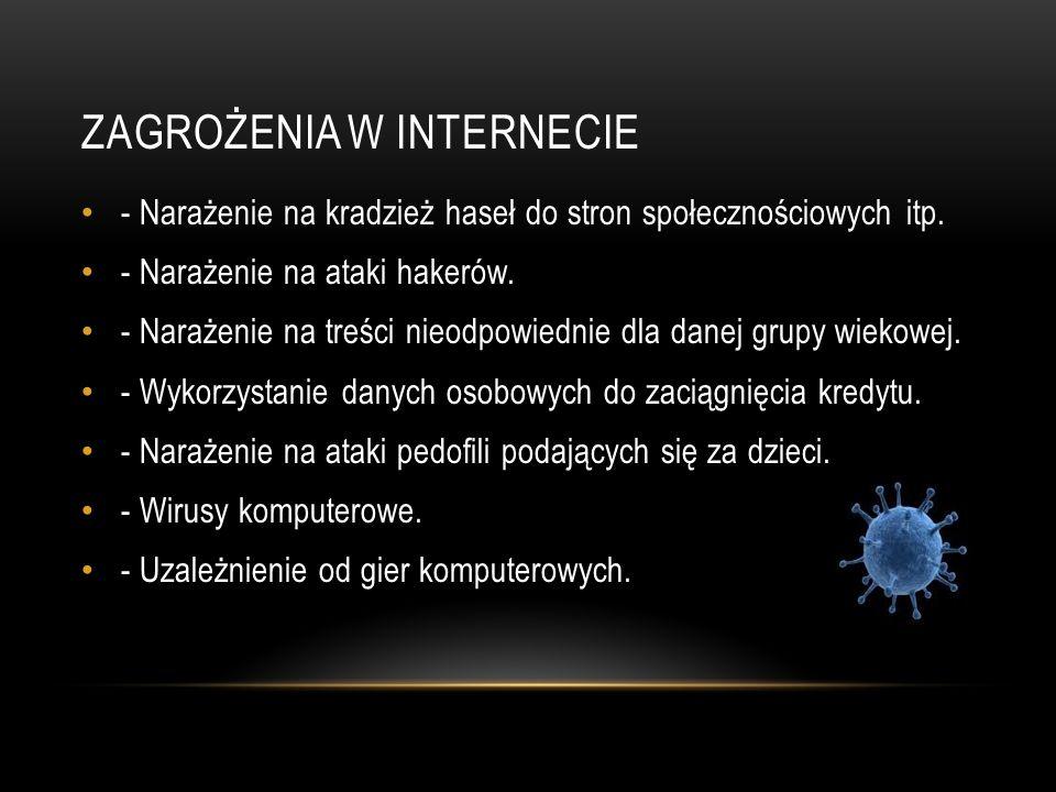 ZAGROŻENIA W INTERNECIE - Narażenie na kradzież haseł do stron społecznościowych itp. - Narażenie na ataki hakerów. - Narażenie na treści nieodpowiedn