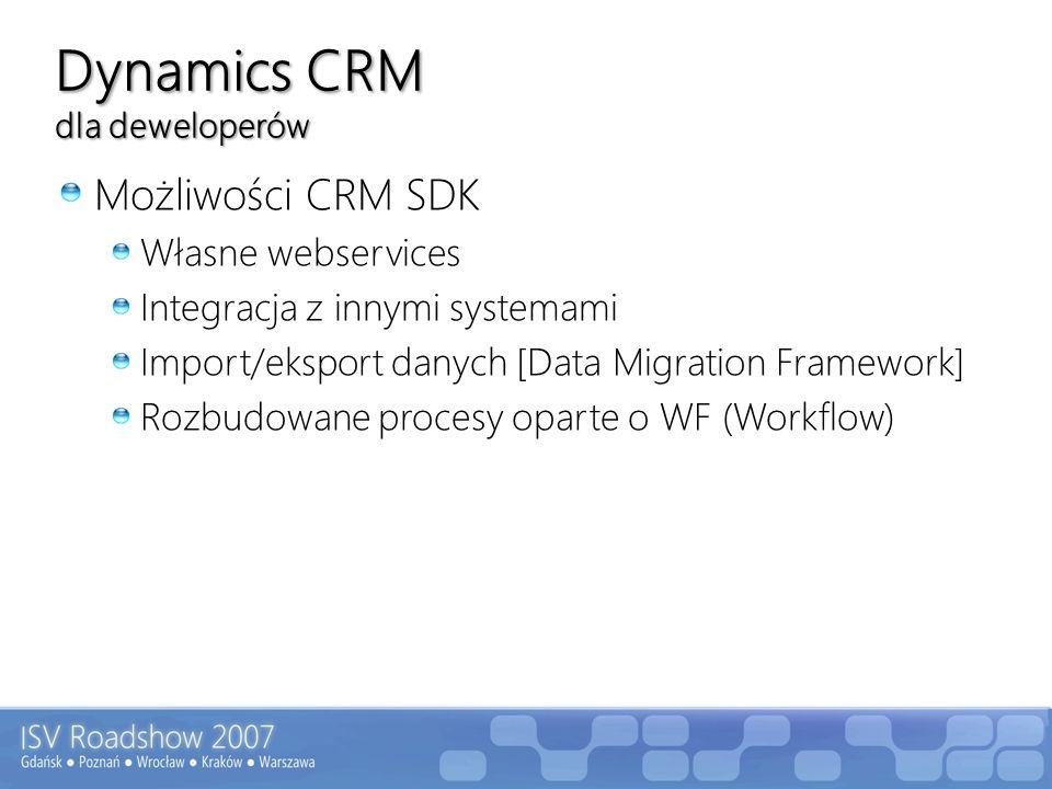 Dynamics CRM dla deweloperów – strona klienta Modyfikacje w formularzach Zmiana widoku/dodatkowe widoki Dodatkowe pola oraz reguły przy zmianach Obsługa zdarzeń onLoad/onSave/onChange w JavaScript Dodatkowe raporty, modyfikacje w raportach Reporting Services Workflow Modyfikacja i tworzenie dodatkowych procesów