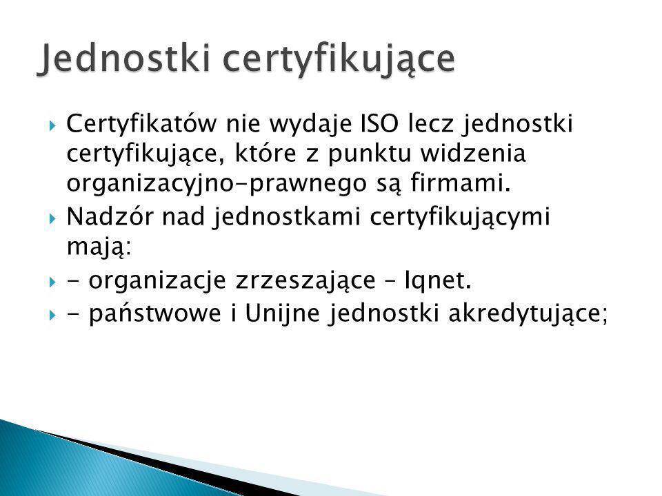 Certyfikatów nie wydaje ISO lecz jednostki certyfikujące, które z punktu widzenia organizacyjno-prawnego są firmami. Nadzór nad jednostkami certyfikuj
