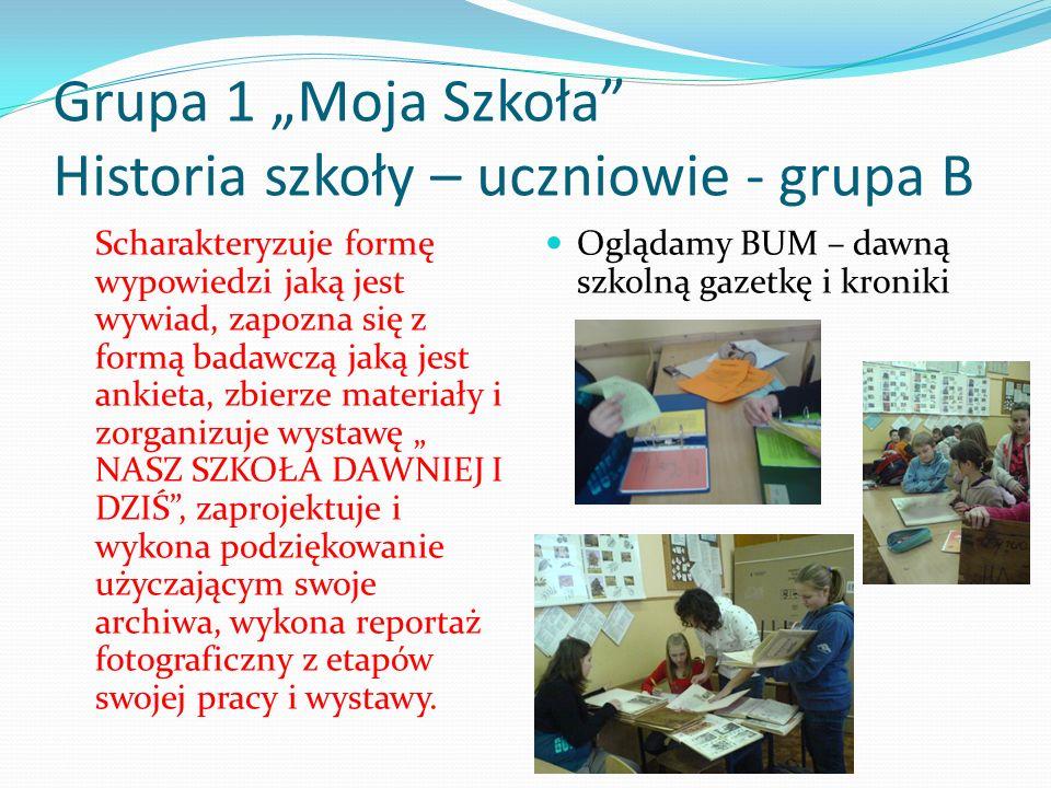 Grupa 1 Moja Szkoła Historia szkoły – uczniowie - grupa B Scharakteryzuje formę wypowiedzi jaką jest wywiad, zapozna się z formą badawczą jaką jest an