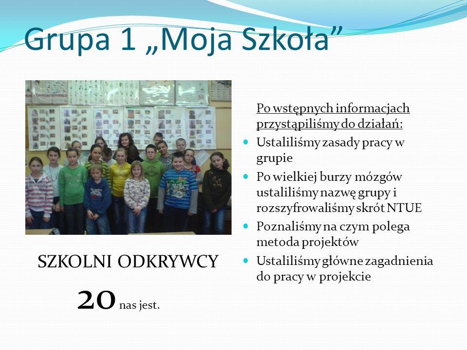 Grupa 1 Moja Szkoła Po wstępnych informacjach przystąpiliśmy do działań: Ustaliliśmy zasady pracy w grupie Po wielkiej burzy mózgów ustaliliśmy nazwę