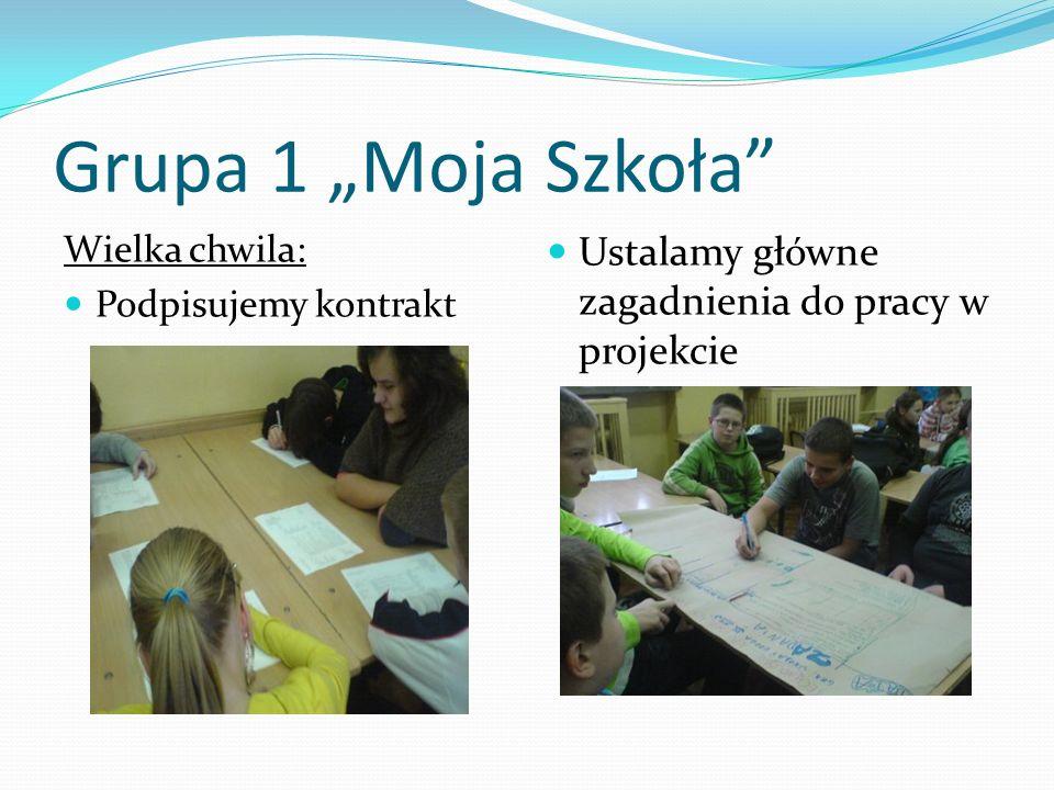 Grupa 1 Moja Szkoła Wielka chwila: Podpisujemy kontrakt Ustalamy główne zagadnienia do pracy w projekcie