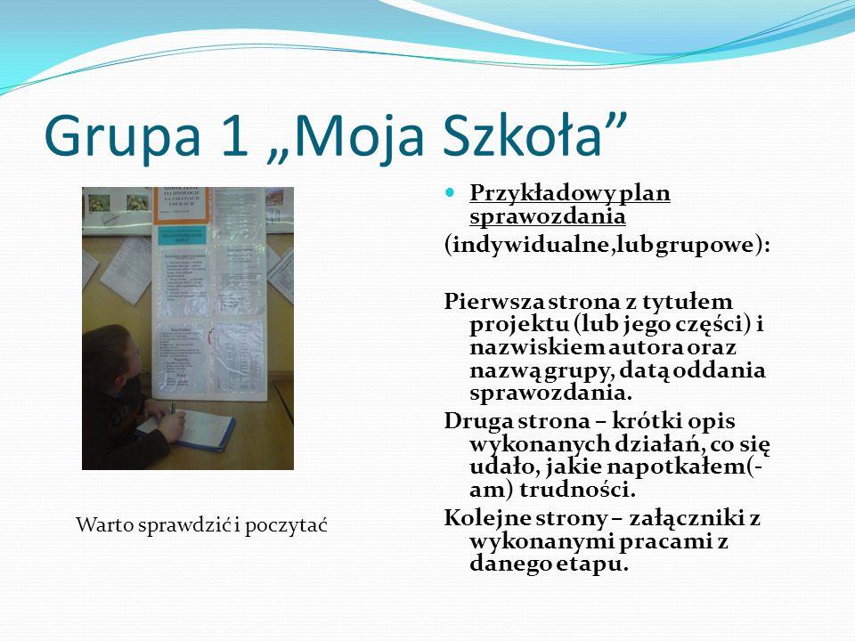 Grupa 1 Moja Szkoła Przykładowy plan sprawozdania (indywidualne,lub grupowe): Pierwsza strona z tytułem projektu (lub jego części) i nazwiskiem autora