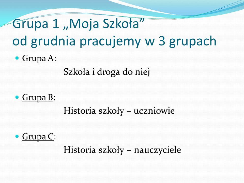 Grupa 1 Moja Szkoła od grudnia pracujemy w 3 grupach Grupa A: Szkoła i droga do niej Grupa B: Historia szkoły – uczniowie Grupa C: Historia szkoły – n