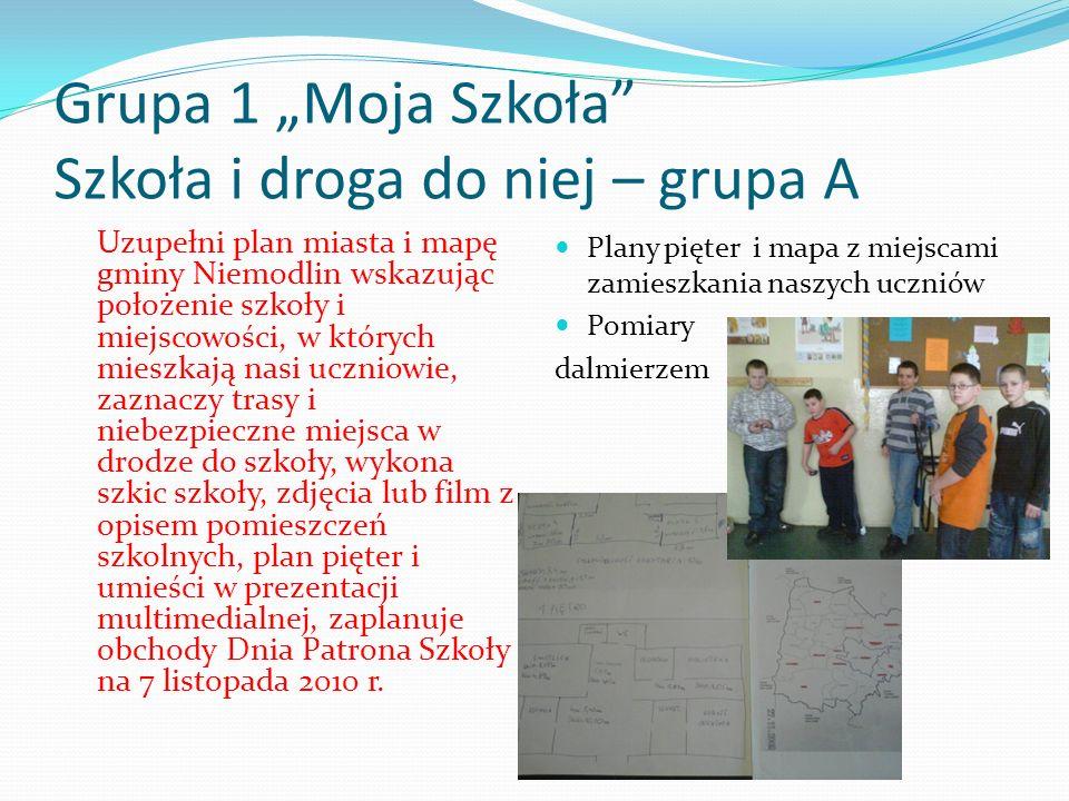 Grupa 1 Moja Szkoła Szkoła i droga do niej – grupa A Uzupełni plan miasta i mapę gminy Niemodlin wskazując położenie szkoły i miejscowości, w których