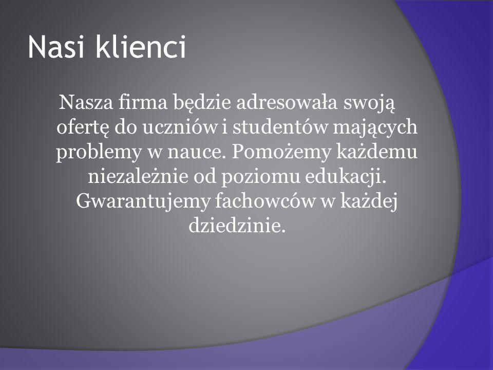 Nasi klienci Nasza firma będzie adresowała swoją ofertę do uczniów i studentów mających problemy w nauce.