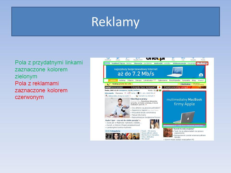 Reklamy Pola z przydatnymi linkami zaznaczone kolorem zielonym Pola z reklamami zaznaczone kolorem czerwonym