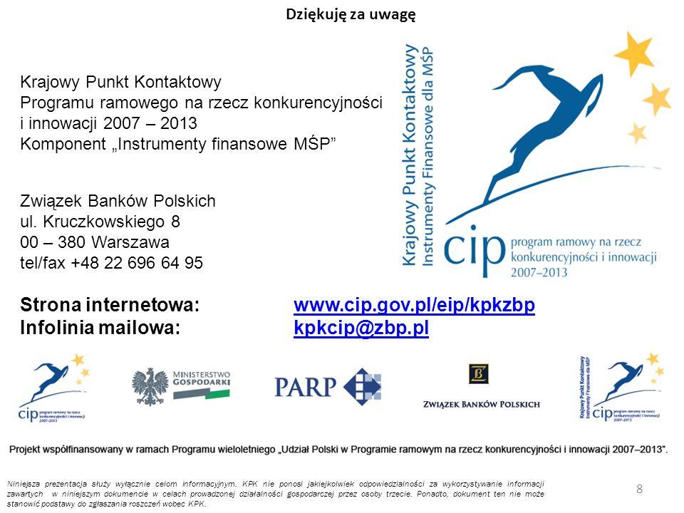 Krajowy Punkt Kontaktowy Programu ramowego na rzecz konkurencyjności i innowacji 2007 – 2013 Komponent Instrumenty finansowe MŚP Związek Banków Polskich ul.
