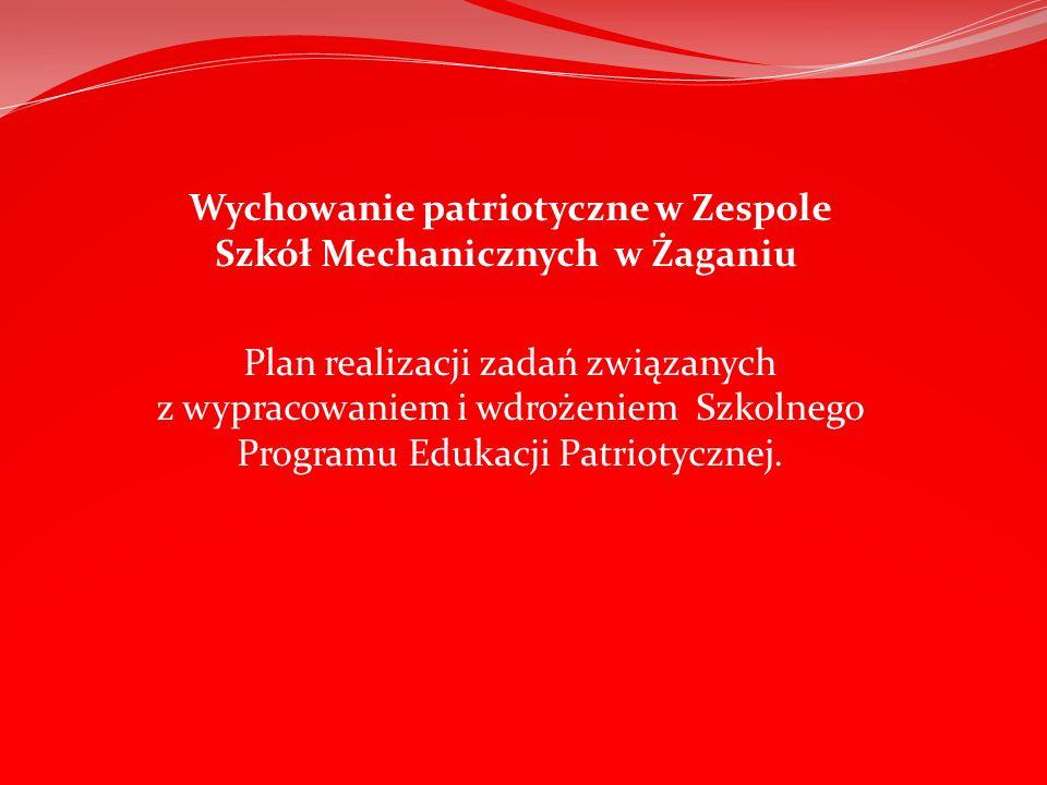 Wychowanie patriotyczne w Zespole Szkół Mechanicznych w Żaganiu Plan realizacji zadań związanych z wypracowaniem i wdrożeniem Szkolnego Programu Eduka