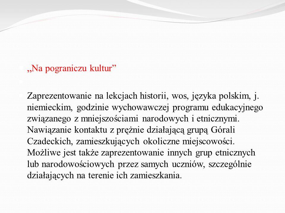 Na pograniczu kultur Zaprezentowanie na lekcjach historii, wos, języka polskim, j. niemieckim, godzinie wychowawczej programu edukacyjnego związanego