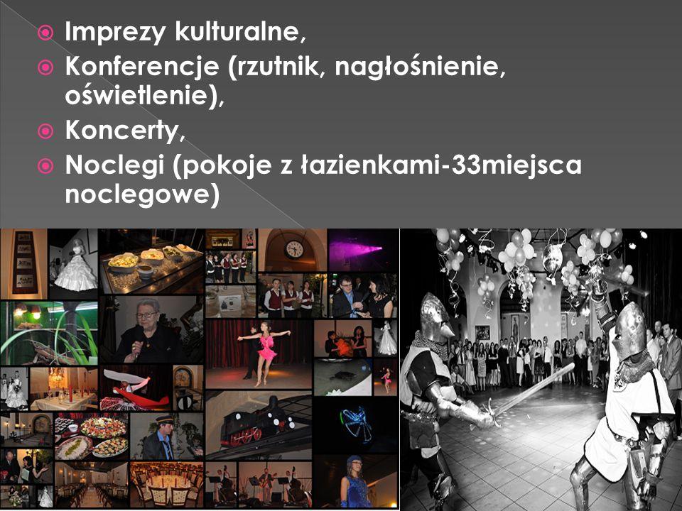 Imprezy kulturalne, Konferencje (rzutnik, nagłośnienie, oświetlenie), Koncerty, Noclegi (pokoje z łazienkami-33miejsca noclegowe)