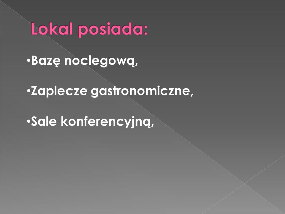 Umowy na wesela i imprezy okolicznościowe podpisane do połowy 2012roku, Przed lokalem wydzierżawiony teren z przeznaczeniem na ogródek piwny, Dobra współpraca z dostawcami, przedstawicielami, oraz osobami związanymi z branżą gastronomiczną, Strona internetowa, http://orientexpress.jgora.pl/ Artykuły o lokalu pod hasłem Orient Express www.jelonka.com http://blog.orientexpress.jgora.pl/