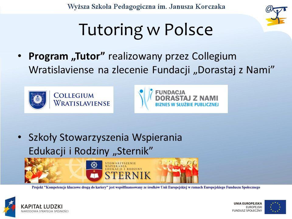 Tutoring w Polsce Program Tutor realizowany przez Collegium Wratislaviense na zlecenie Fundacji Dorastaj z Nami Szkoły Stowarzyszenia Wspierania Eduka