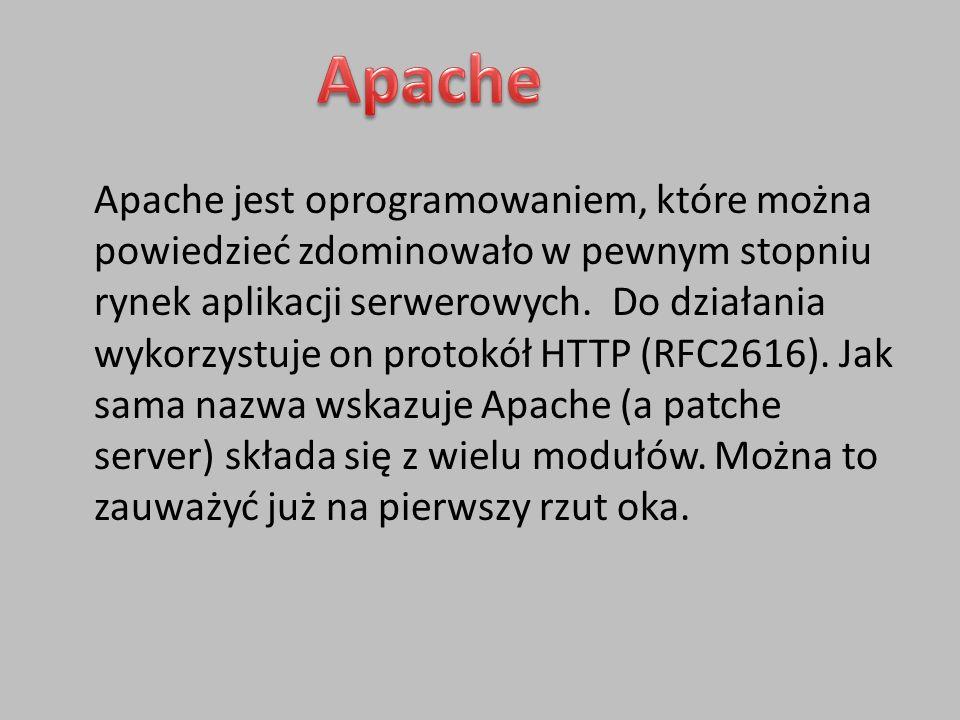 Apache jest oprogramowaniem, które można powiedzieć zdominowało w pewnym stopniu rynek aplikacji serwerowych.